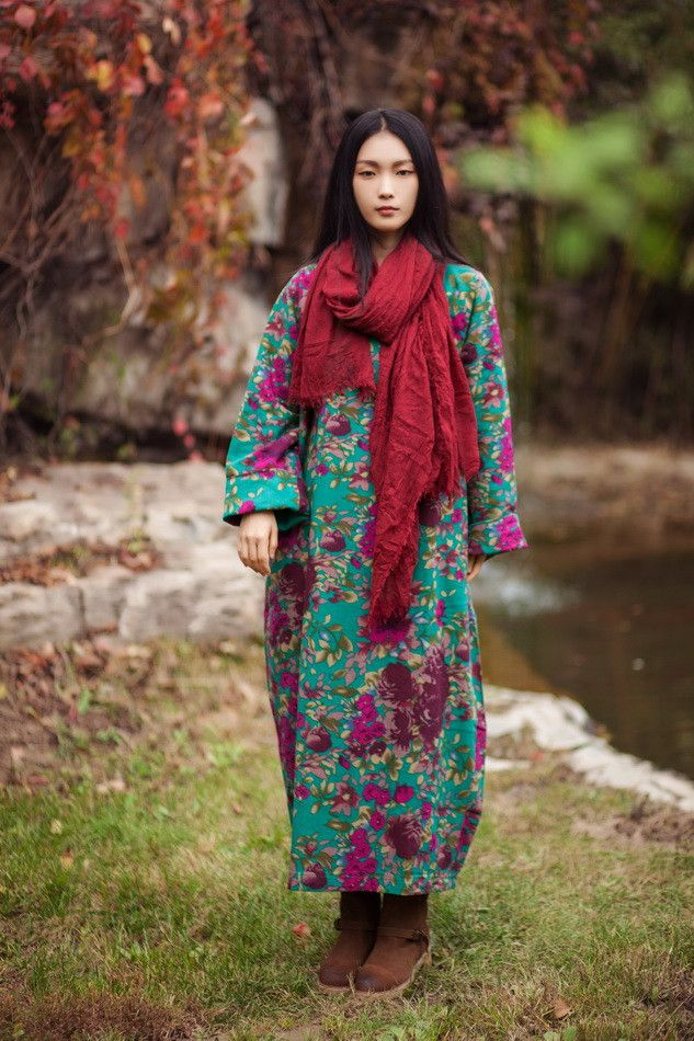 women winter cotton linen lining dress - Buykud -