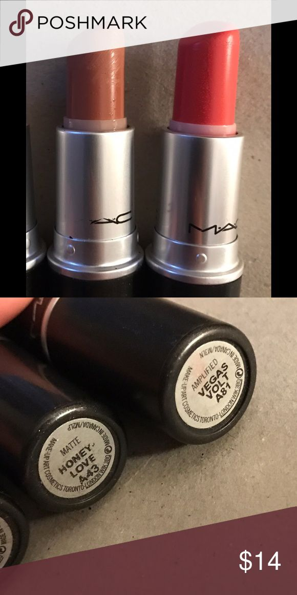 MAC Lipsticks MAC lipsticks. Honey love & Vegas volt. Price is negotiable as I just need to get rid of these unwanted color tones from my make up collection 💕 MAC Cosmetics Makeup Lipstick