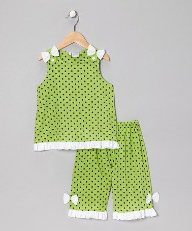 Take a look at this Green Polka Dot Amanda Tank & Pants - Infant, Toddler & Girls by Sweet Dreams on #zulily today!