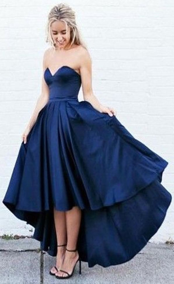 navy blue prom dress, high low sweetheart strapless party dress