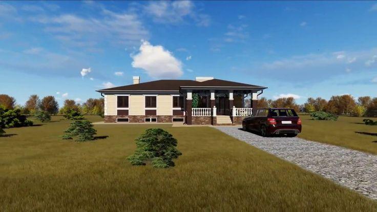 Проект большого дома с цокольным этажом и террасой.