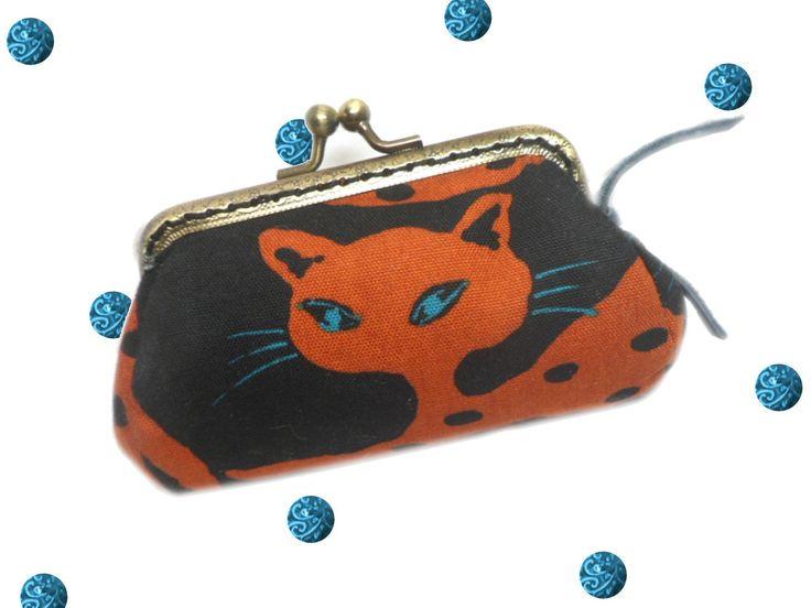 SAPHIR Porte monnaie fermoir rétro chat roux yeux bleus fond noir : Porte-monnaie, portefeuilles par catsoo
