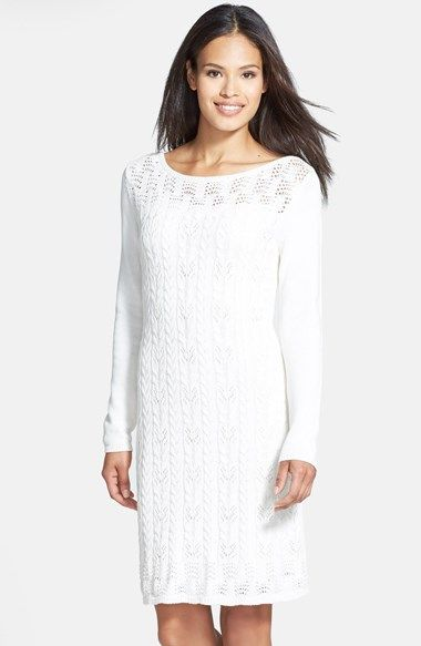 Tahari Cable Knit Cotton Sweater Dress available at Nordstrom