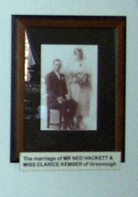Framed photo of the Hackett/Kember wedding.