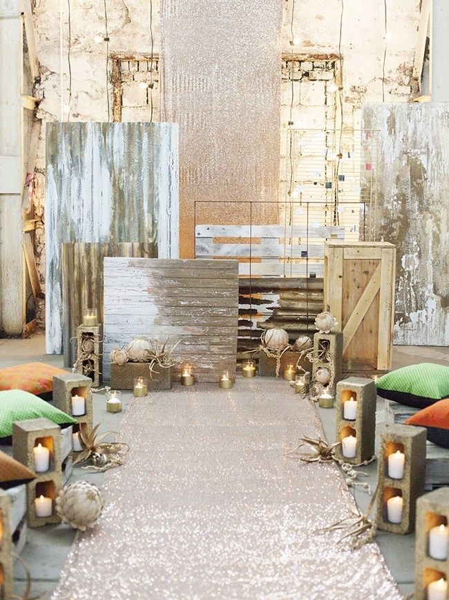 How to Style an Industrial Chic Wedding Ceremony | SouthBound Bride | http://www.southboundbride.com/industrial-chic-ceremony-spaces | Credit: As Sweet As Images/Ninirichi Style Studio/Tickled Pink Wedding and Events