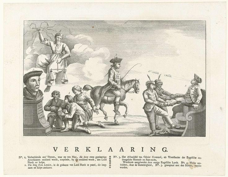 Anonymous | Spotprent op de Engelse verliezen in Amerika, 1778, Anonymous, 1778 | Spotprent op de Engelse verliezen in de strijd met Amerika in 1778. De Engelse koning George III wordt door twee Amerikanen ontkleed en roept om de steun van Lord North die slechts langzaam ter hulp komt aangereden. Links knielen Engelse lords voor een buste van Oliver Cromwell. Op het blad onder de voorstelling de verklaring van cijfers 1-3.