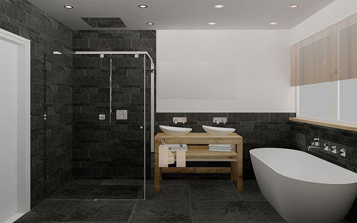 Strakke badkamer met vrijstaand bad, eiken badmeubel en stucwerk