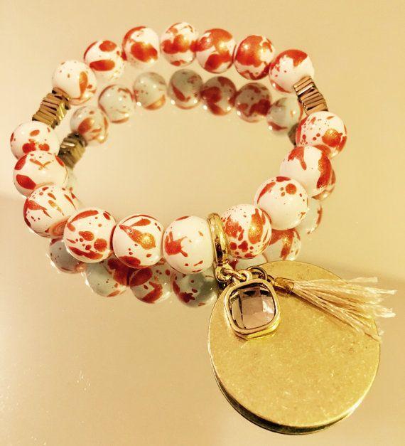 Heidi's Beaded Bracelet White and Orange Bracelet Beige