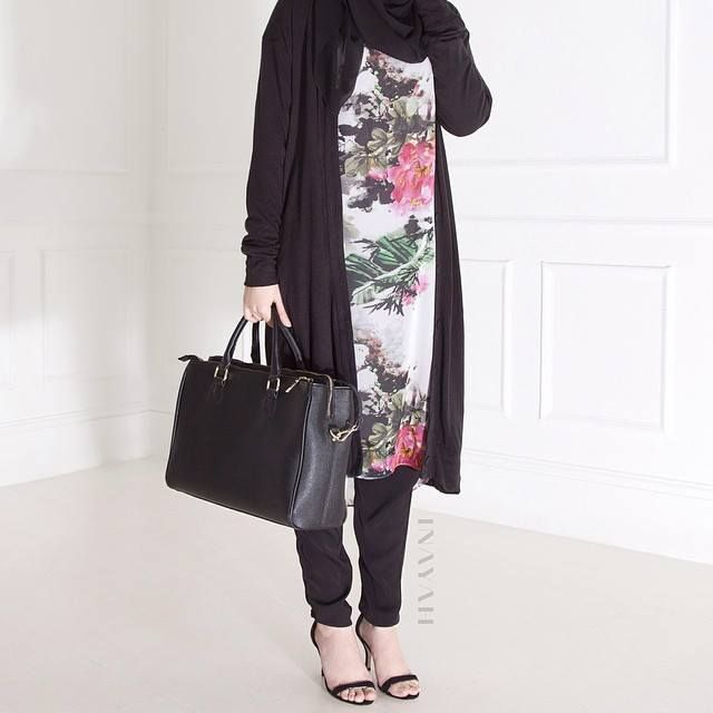 INAYAH | Ink Midi #Dress + Black Thin Knit Maxi #Cardigan + Black Maxi Jersey #Hijab+ Black Crossover #Trousers www.inayahcollection.com