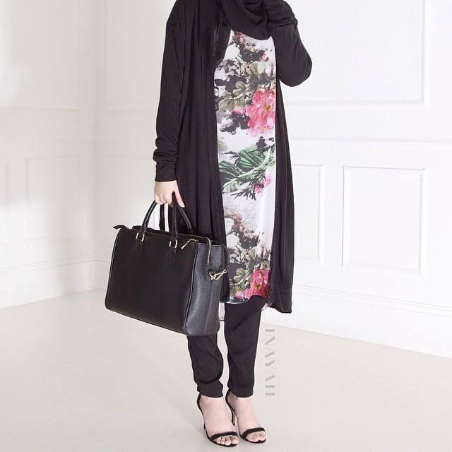 INAYAH | Ink Midi #Dress + Black Thin Knit Maxi #Cardigan + Black Maxi Jersey #Hijab+ Black Crossover #Trousers www.inayahcollection.com