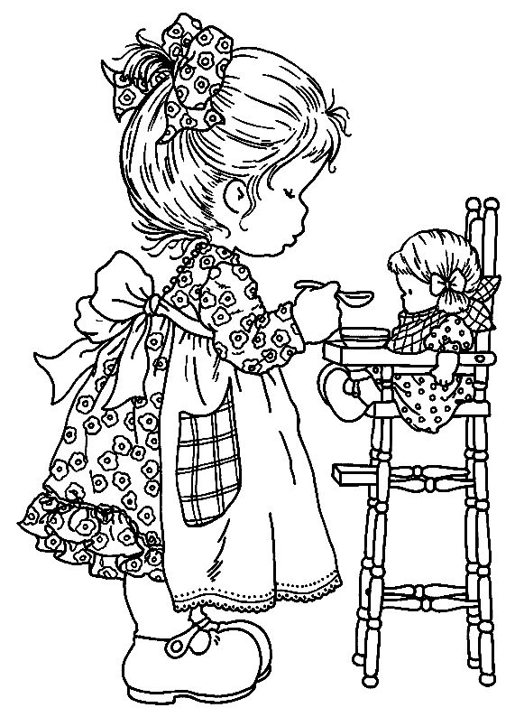 Feeding Baby Coloring Page