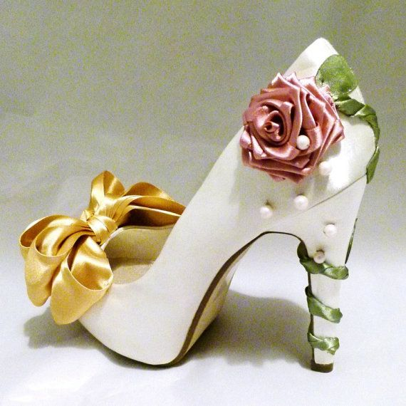 Ivory Satin Bridal Shoes Belle Disney Beauty and the Beast  Inspired  Wedding Bridesmaid. I could so make these!! Only I would prob do more beading and less fabric, like a beaded rose and lose the bow.