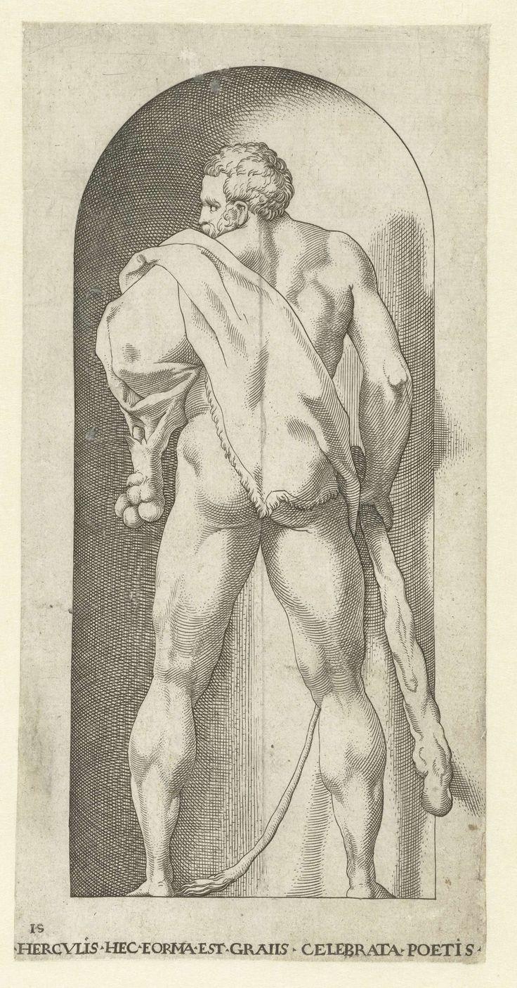 Jakob Binck | Hercules met knots en huid van een leeuw, Jakob Binck, Jacopo Caraglio, 1530 | Hercules als de belichaming van kracht en moed met zijn attributen de knots en de huis van een leeuw. Naar zijn krachtige mannenlichaam, een geliefd thema bij oude dichters, wordt verwezen in het opschrift HERCVLIS HEC EORMA EST GRAIIS CELEBRATA POETIS. Kopie naar prent van Jacopo Giovanni Caraglio