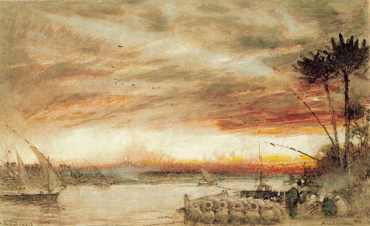 A Nile Sunset by Albert Goodwin, Watercolour