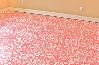 Gretchen stenciled her sewing room floor - looks fab.  I would love this in a big laundry room.