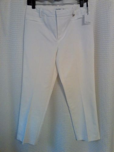 SOLD!!!...... CALVIN-KLEIN-Sz-6-White-Capris-Cropped-Pants-Soft-Stretchy-Cruise-Resort-Wear