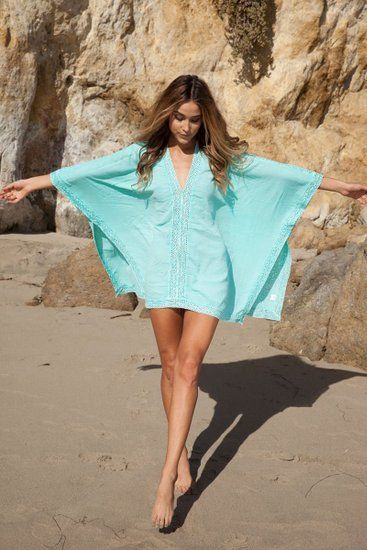 DQdq Women's Solid Oversized Beach Cover Up Light Blue at Amazon Women's Clothing store: