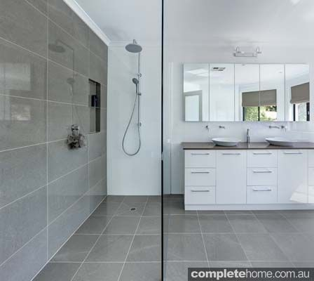 Pale grey floor and wall tiles