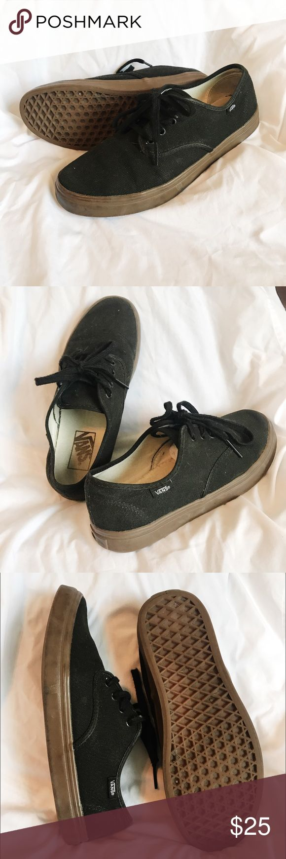 Black Gum Sole Vans Good used condition and already broken in so I did the hard part for you! :) style not sold anymore, gum sole with black canvas material. Last picture included for condition transparency. Always wore socks with these! :) Vans Shoes Sneakers