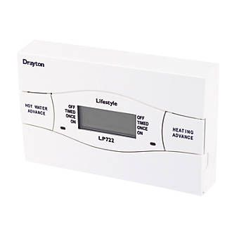 Drayton LP722 (Mk4) Programmer 26078 4-wire installation. Override facility. Automatic BST/GMT time change. Separate heating and hot water timings. EN 60730. http://www.MightGet.com/april-2017-1/drayton-lp722-mk4-programmer-26078.asp