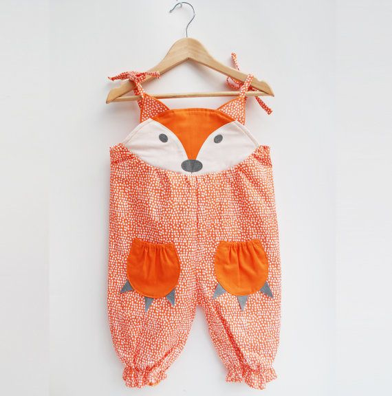Fox summer baby romper. by wildthingsdresses on Etsy