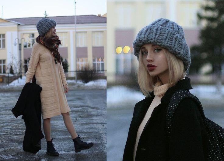 Ksenia Rain - Asos Stripe Jumper Dress, Dr. Martens Boots - ASOS