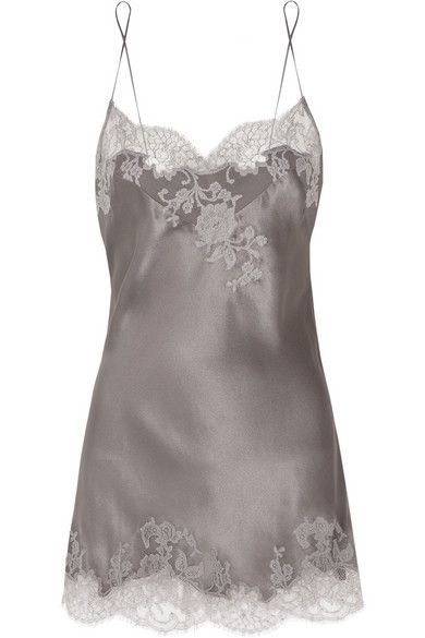 Carine Gilson Lace-Appliqued Silk-Satin Chemise