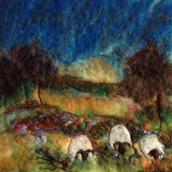 Irish Felted Grazing Sheep by OlannAlainnArts on Etsy