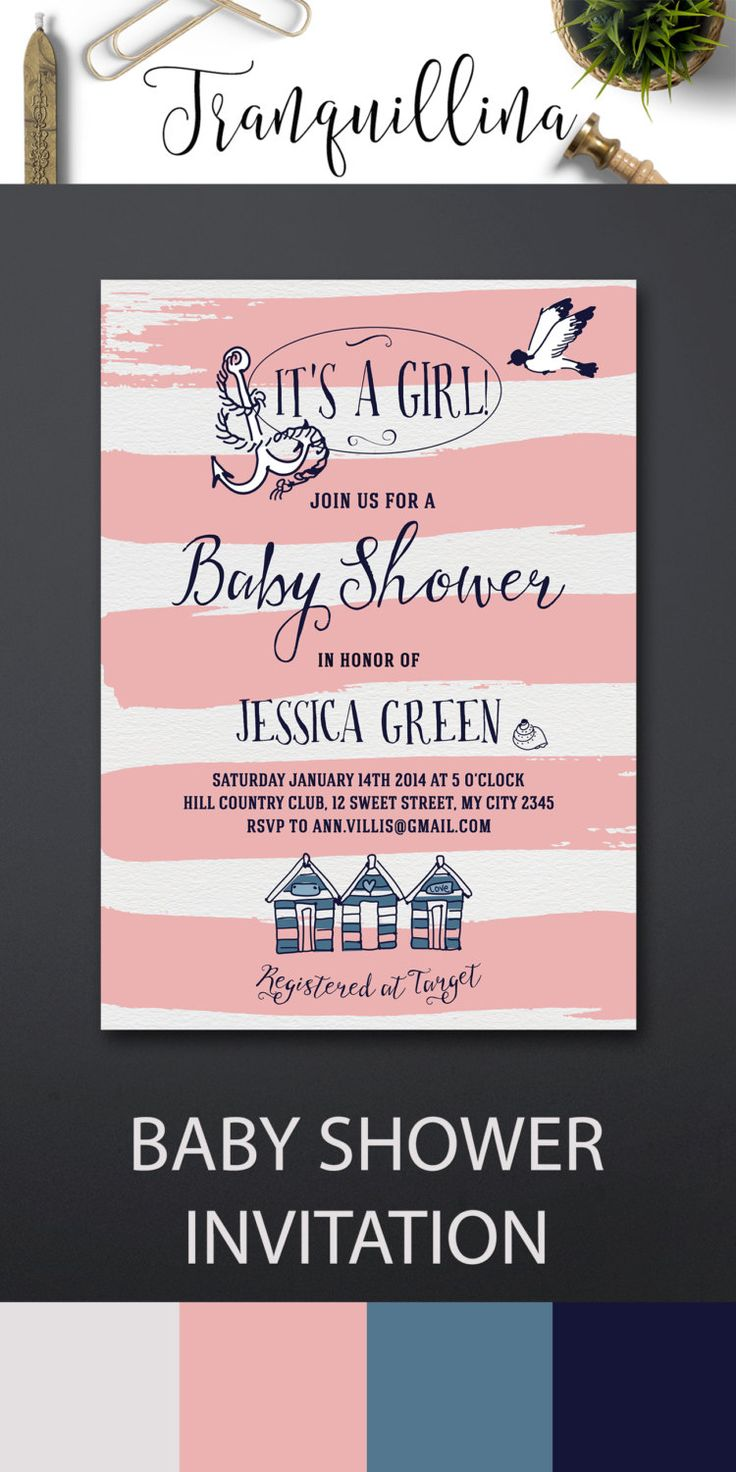 Nautical Baby Shower Invitation Printable, Beach Baby Shower Invitation Girl - Pink Stripes Summer Baby Shower Invitations - pinned by pin4etsy.com