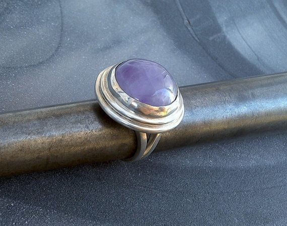 Large Amethyst Cabochon Statement Ring in by StudioLsquared