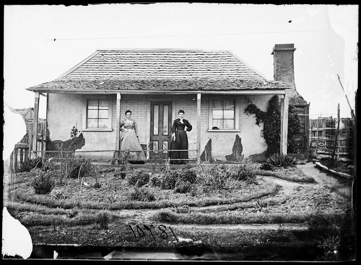 Australians standing outside of their homes 1870-75 (NSW State Library)