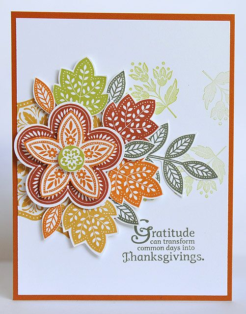 I used the Day Of Gratitude stamp set from Stampin' Up for this card. Lots of cutting and layering :)
