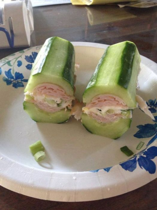 {cucumber sub} cut cucumbers in half, then scoop seed core out with a spoon or melon baller, then fill with choice of fillings, e.g. turkey, cheese, lettuce, egg, green onions, cream cheese… up to you!
