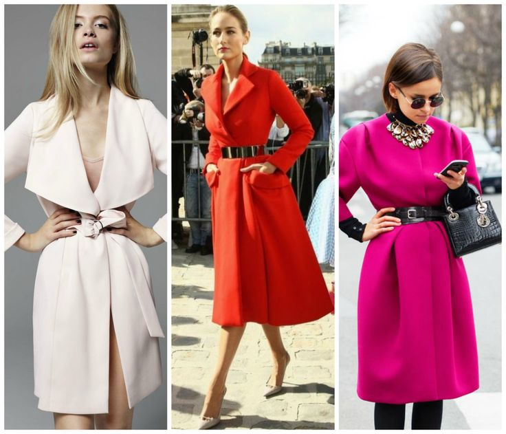 Coats perfect for hourglass figure. Light pink, red and pink coat. Learn how to dress your hourglass figure >>> http://justbestylish.com/how-to-dress-the-hourglass-figure/2/