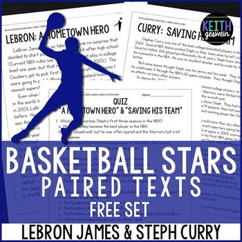 FREE paired texts about the two biggest superstars in the 2016 NBA Finals!  Includes a quiz and a writing prompt.