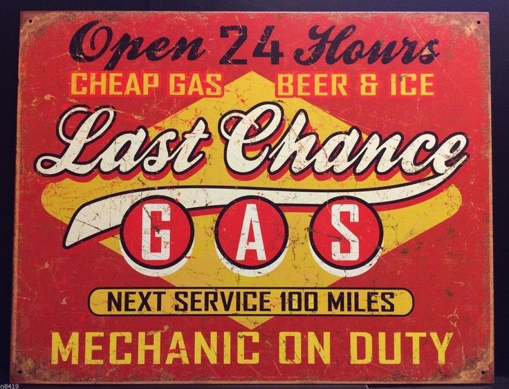 Last Chance Gas Station Beer & Ice Tin Metal Sign Vintage Wall Decor Garage Bar