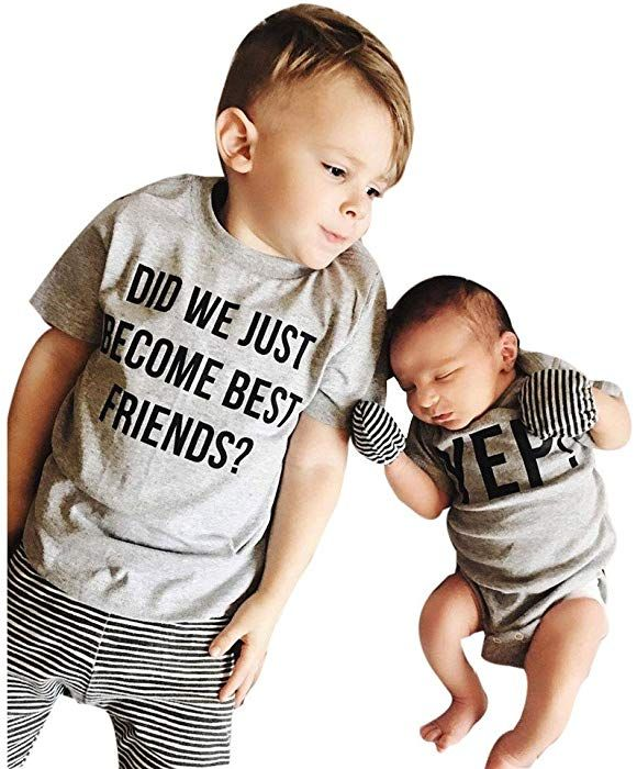 61b7b23251 Baby Little Boys Girls Brother Sister Matching Shirts Bodysuit Romper Tops, Funny Message Talk - DO WE JUST Become Best Friends?YEP! (Gray | Shirt, 24M)
