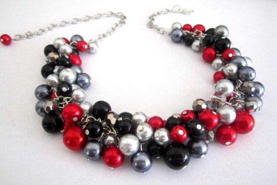 Dichiarazione rosso collana collana di perle rosse di SLDesignsHBJ