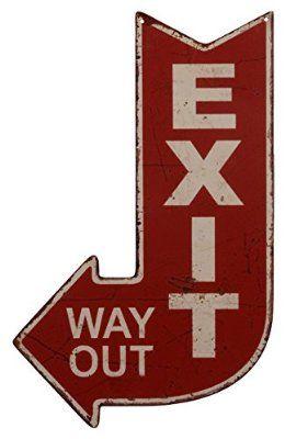 Blechschild Dekoschild Schild Exit Way Out Ausgang Pfeil Antikstil Retro 40x25cm
