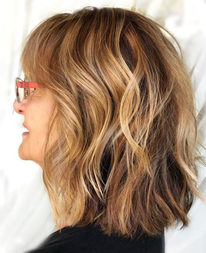 Medium Wavy Hairstyle For Thick Hair Over 50 Modern Hairstyles Thick Hair Styles Wavy Hairstyles Medium