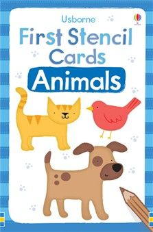 """First stencil cards: Animals  A box of 12 sturdy stencils specially designed for little children to use. The simple shapes feature animals familiar to little children, including a cat, a dog, a fish and an elephant. The strong, durable cards withstand repeated use. A fun way to improve children's motor skills and coordination. """"A fantastic buy."""" First4Dads"""