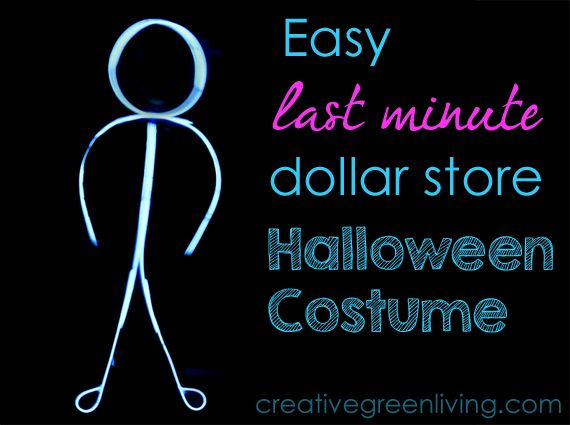 Easy Last Minute Halloween Costume: Glowing Stick Man. Only takes 10 minutes to put together!