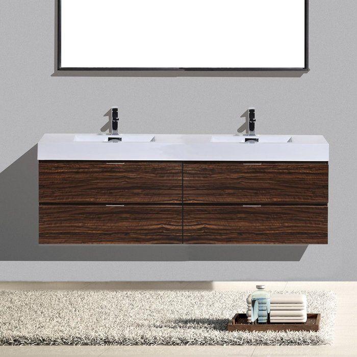 Wade Logan Tenafly 72 Wall Mount Double Bathroom Vanity Set Reviews Wayfair Ca Bathroom Vanity Double Vanity Bathroom Modern Bathroom