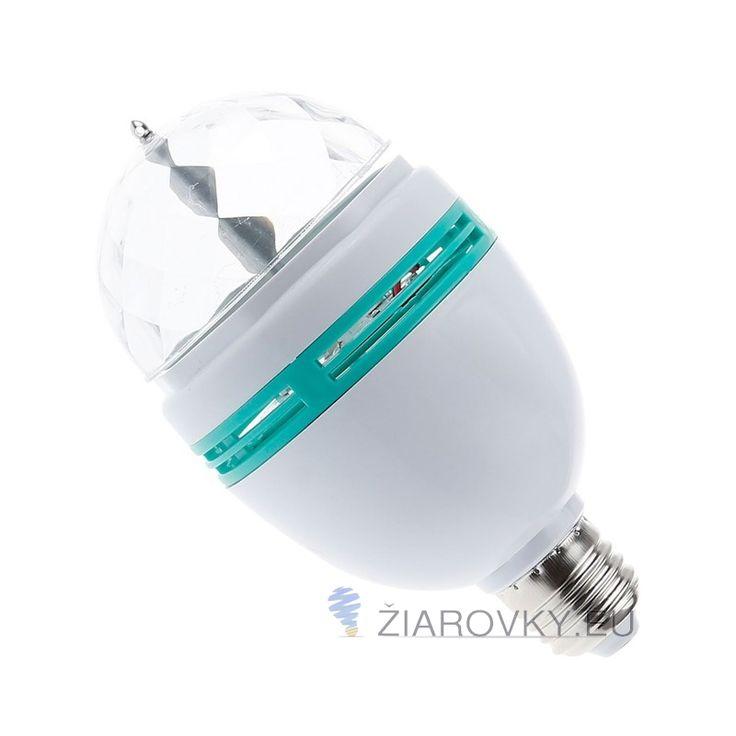 LED lampa – DISKO je rotujúca disco žiarovka, super doplnok na party, večierky , firemné akcie alebo do baru.  LED lampa – DISKO má unikátnu automaticky otočnú konštrukciu s päticou E27. RGB kryštáľ zaisťuje veľmi krásne a svetlé osvetlenie, ktoré má efekt javiskového svetla.Vynikajúci výkon a spoľahlivá kvalita splní vaše vizuálne uspokojenie. S hľadiska ekonomiky, šetrného prostredia, spoľahlivej kvality a širokého použitia, je LED lampa – DISKO správnou voľbou.