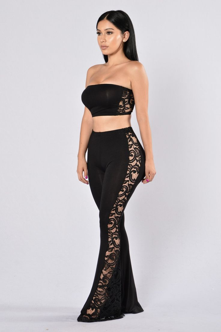 Available in Black Tube Crop Top Long Bell Bottom Pants Open Lace Detail Sides Sold as a Set Elastic Waist Band Made in USA 96% Rayon 4% Spandex