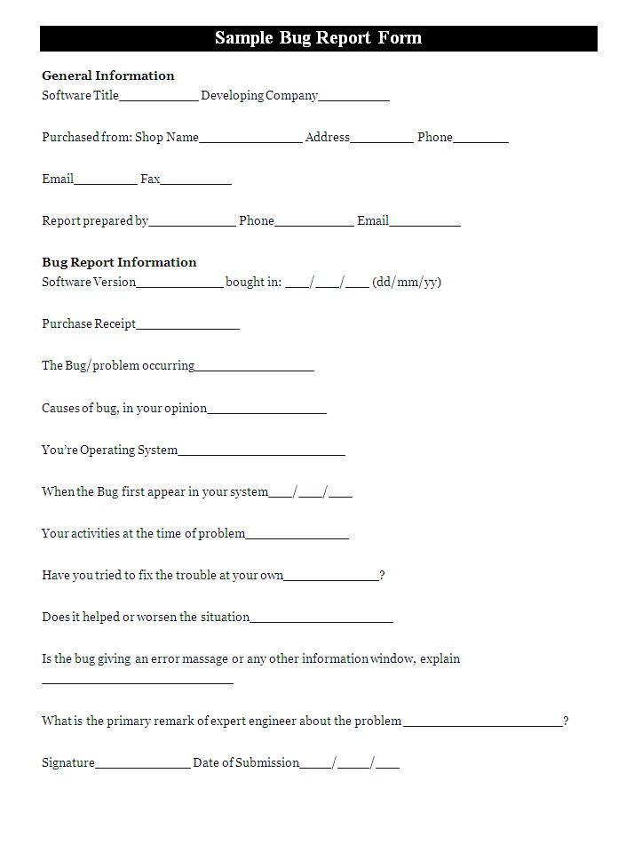 A bug report form is designed for the computer users who