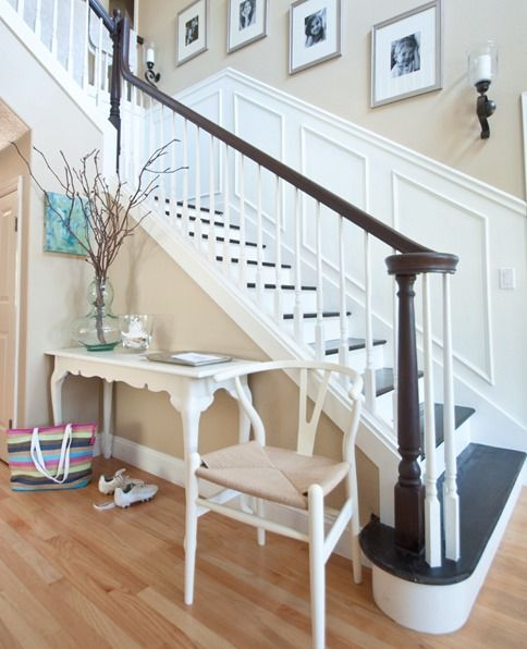 centsational girl stairs.  love the white/dark risers and treads especially with the wall panels and dark handrail