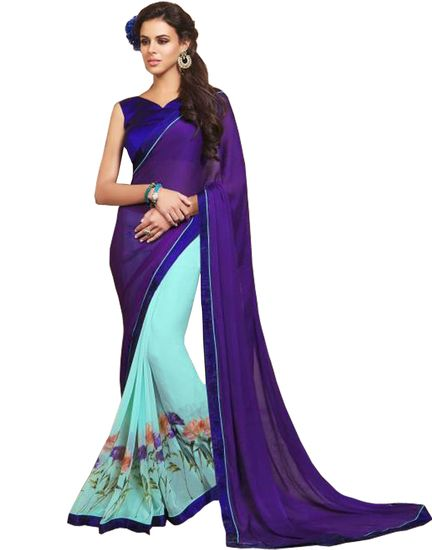 Purple designer floral printed saree with unstitched blouse