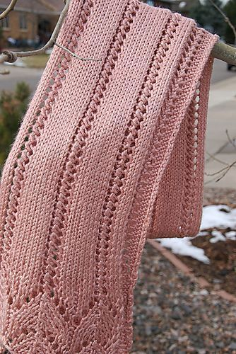 Free knitting pattern for lace scarf featuring horseshoe lace border and more lacy scarf knitting patterns