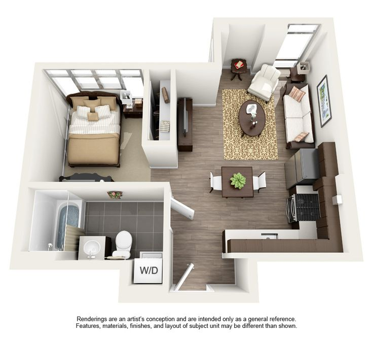 Apartment 1 Bedroom Small House Plans 3d